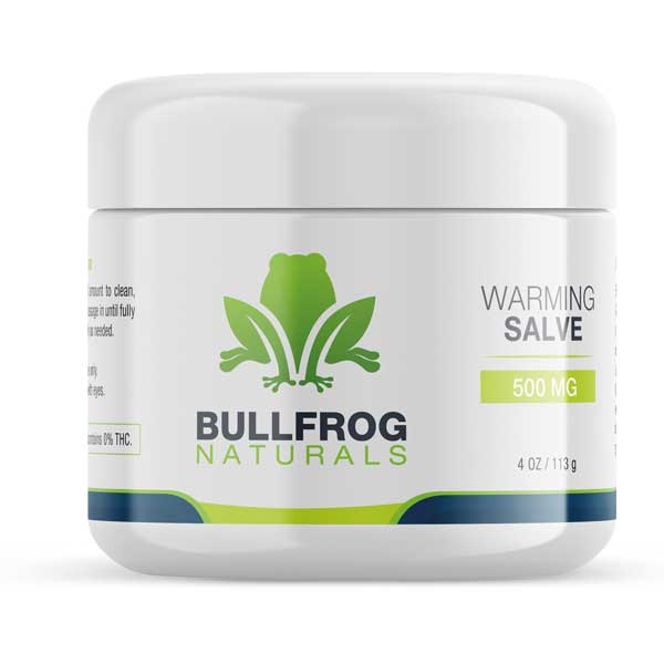 Buy Bullfrog Hemp Oil Warming Salve On Line - 500 mg of CBD.  Relax your body with this all-purpose powerful Hemp Oil healing salve that leaves your skin feeling smooth and restored. Infused with Organically Grown USA Hemp. Our proprietary True Full Spectrum Hemp Oil and rich w